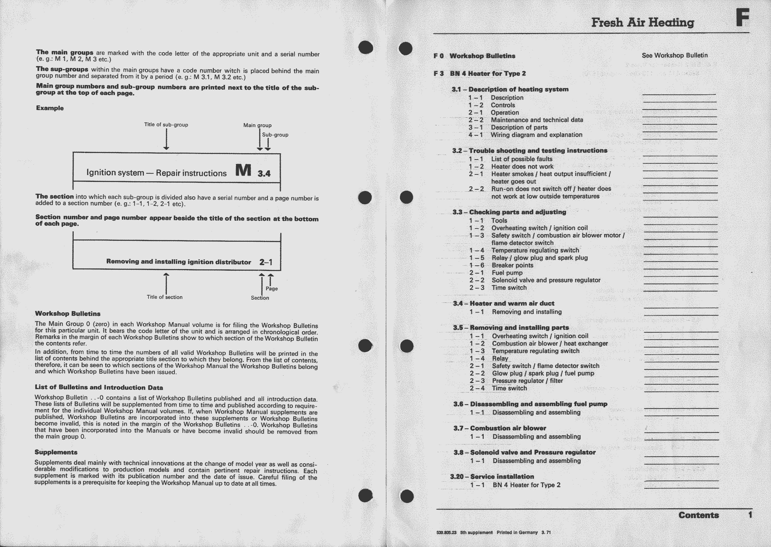 Obsolete Air Cooled Documentation Project Vw Workshop Manual Wiring Diagram Further Control Valve Parts On Understanding 003 How To Use The Bn 4 Type 2 Index